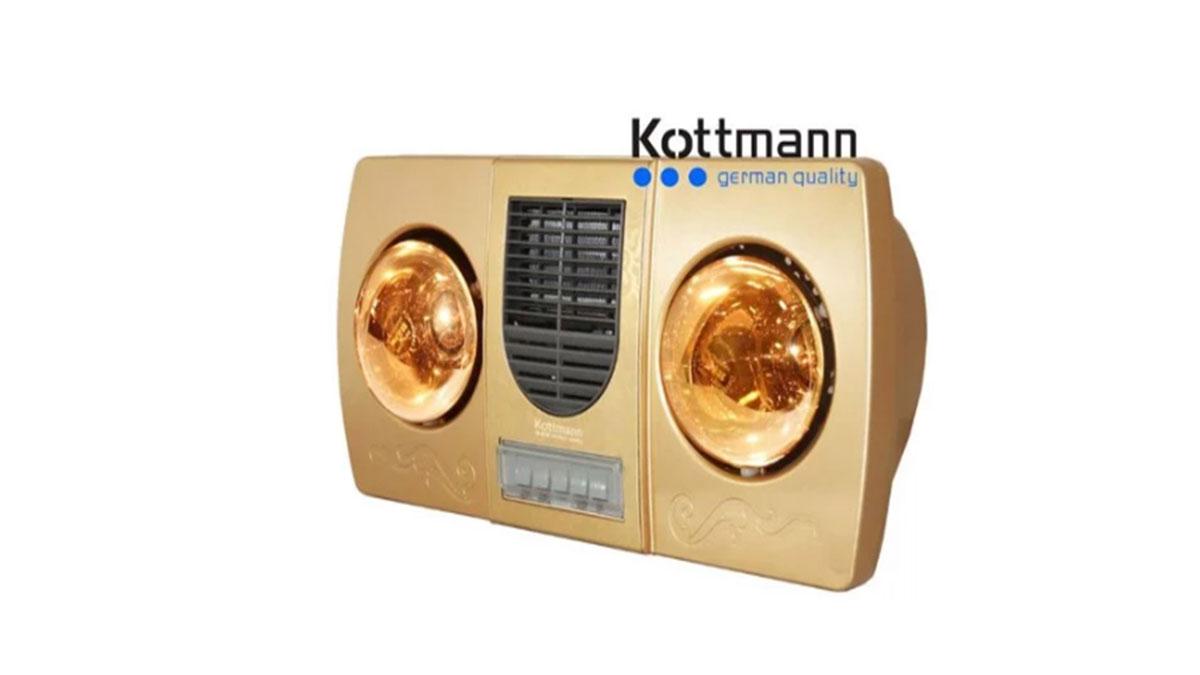 Đèn sưởi nhà tắm Kottmann K2B-HW-G 2 bóng thổi gió nóng